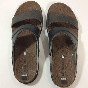Merrell Around Town Slide Sandals Two Tone Black 8
